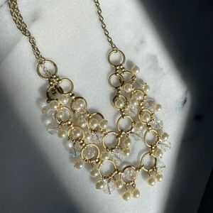Gold pearl statement necklace